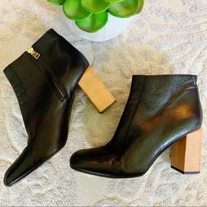 Marni black leather ankle boots block heel